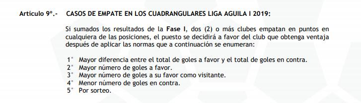 Articulo 9 Liga Águila 2019-1: Cuadrangulares