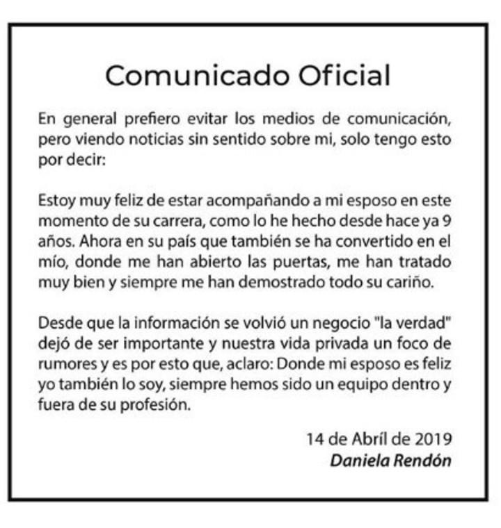 Comunicado Daniela Rendón