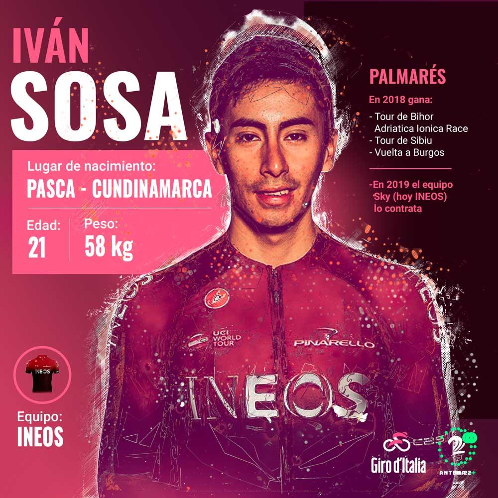 Iván Sosa, gregario del Ineos en el Giro de Italia