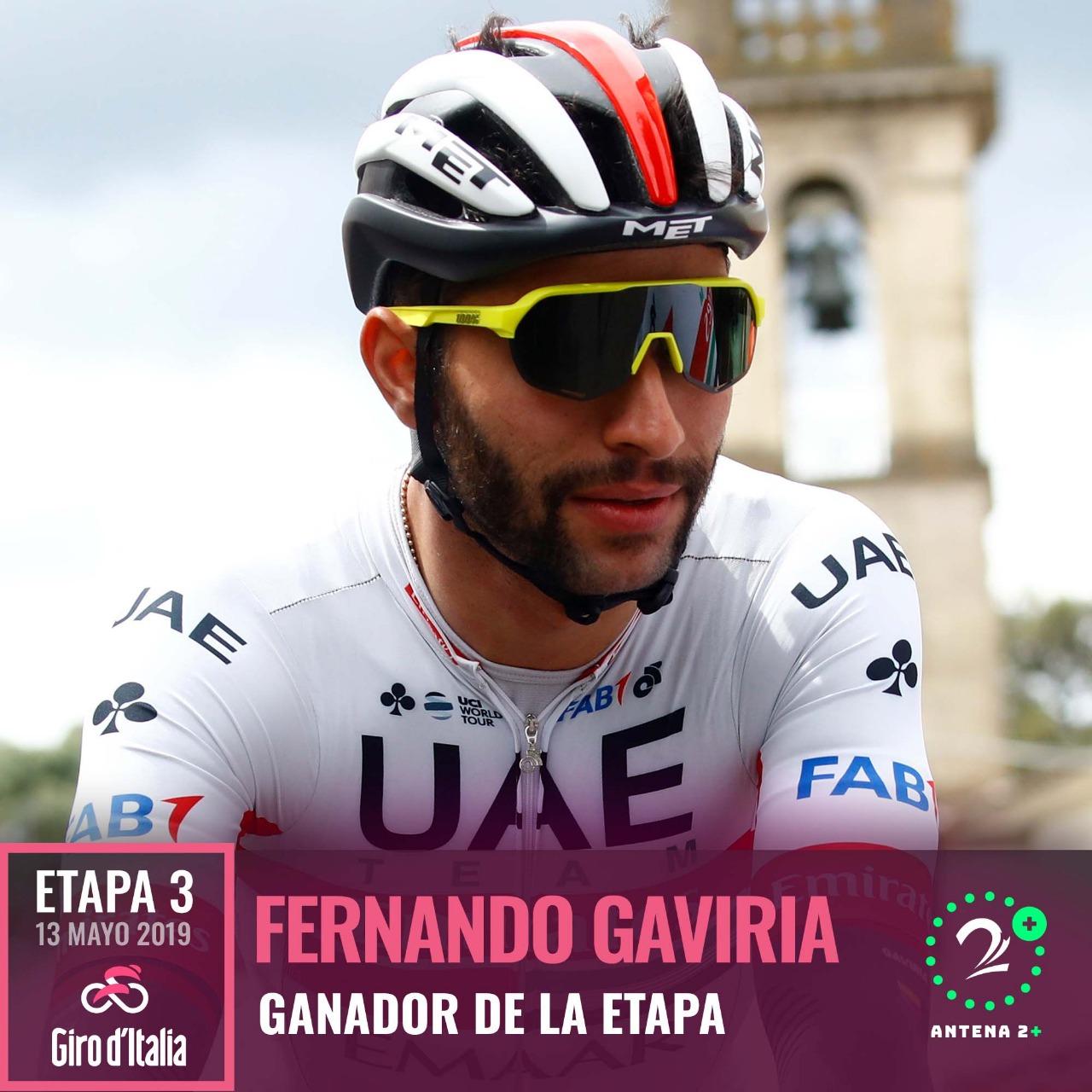 Fernando Gaviria, ganador de la tercera etapa del Giro de Italia