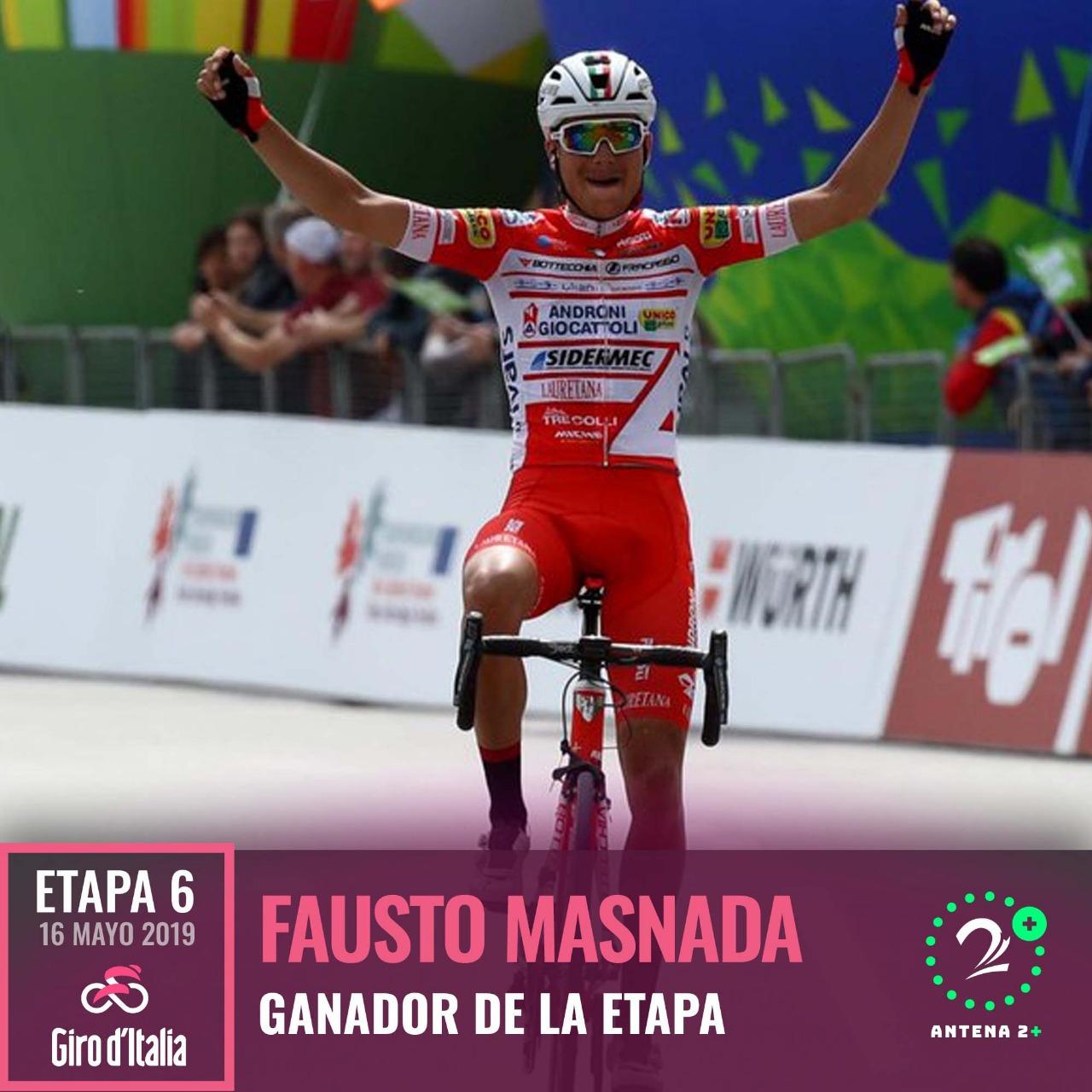 Fausto Masnada (Androni Giocattoli), ganador de la sexta etapa del Giro de Italia