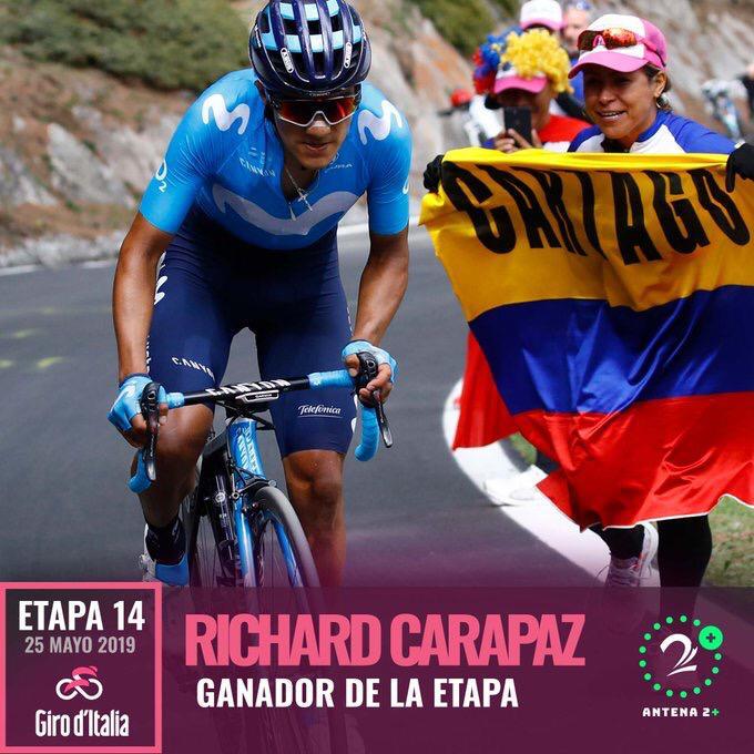 Richard Carapaz, ganador y líder del Giro de Italia tras la etapa 14