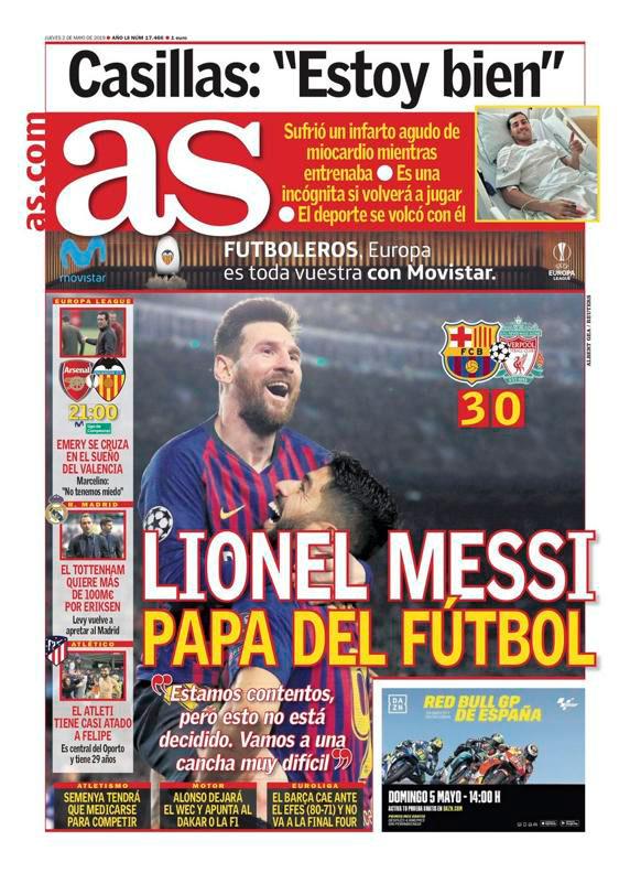 La portada del diario As con Messi como protagonista