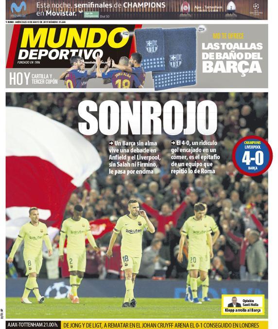 Portada Mundo Deportivo, tras victoria del Liverpool