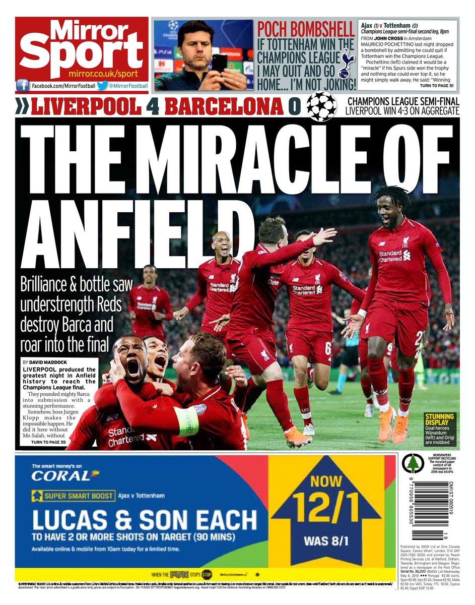 Portada Mirror Sport, tras victoria del Liverpool