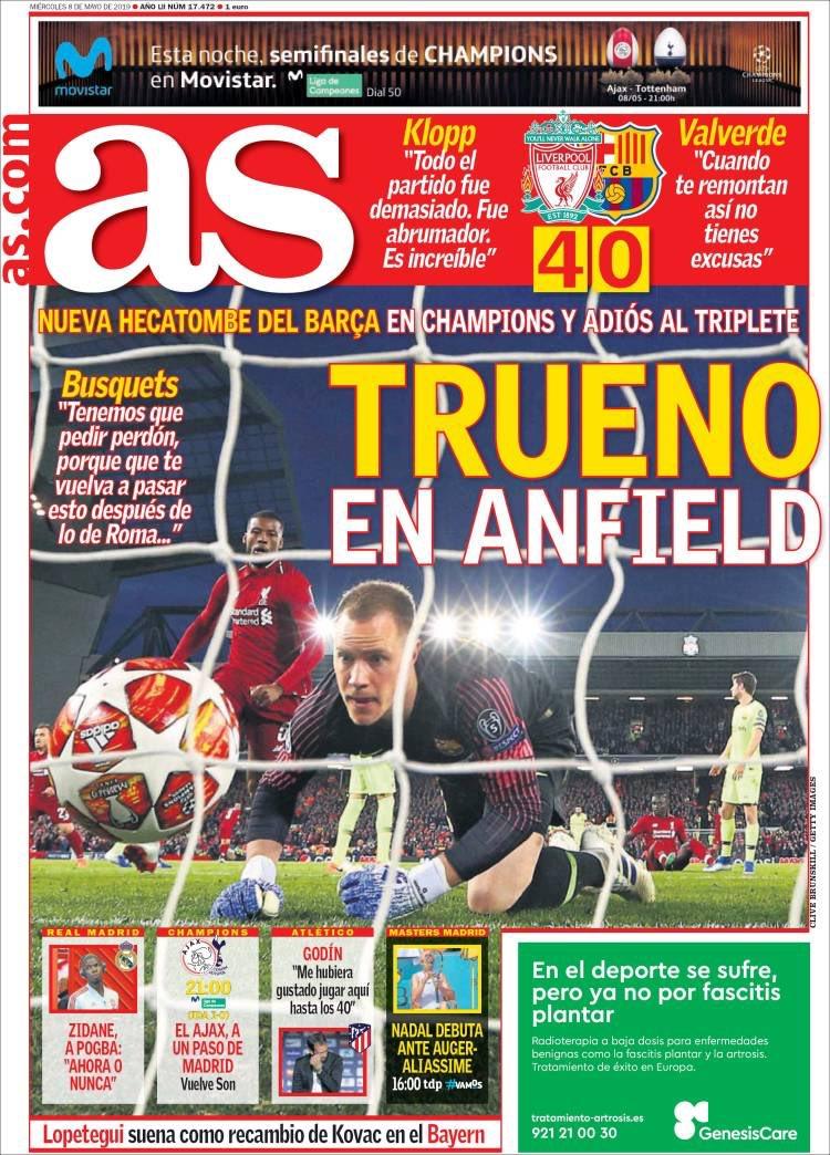 Portada diario AS, tras victoria del Liverpool