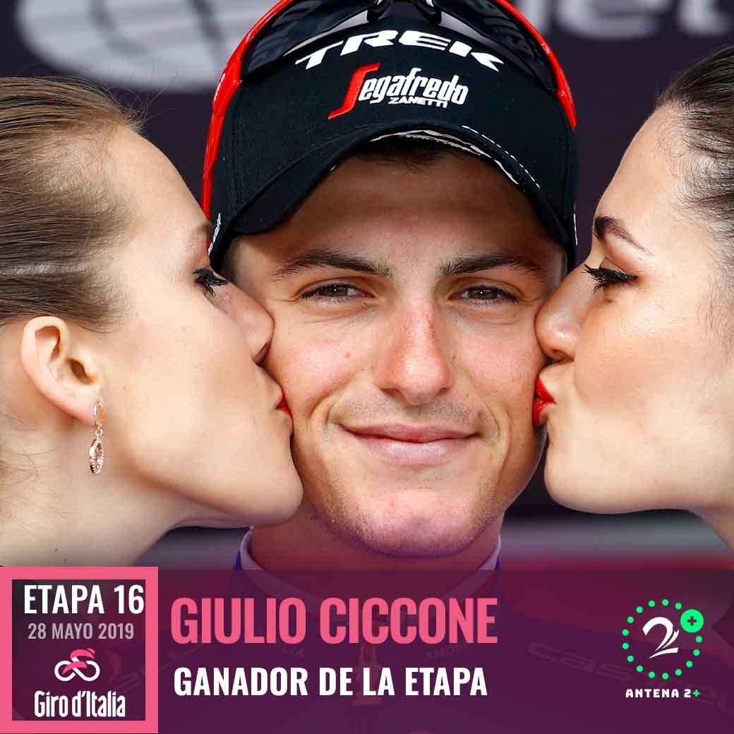 Giulio Ciccone(Trek-Segafredo)ganó la fracción 16 del Giro de Italia