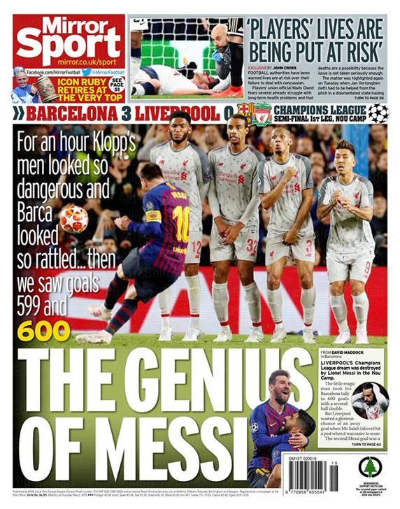 Mirror Sport con Messi en portada.