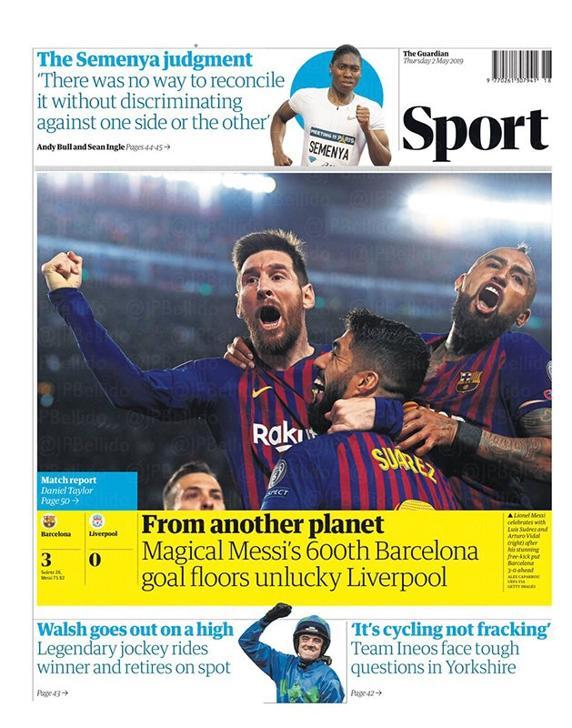 Messi El diario The Guardian con Messi en portada.
