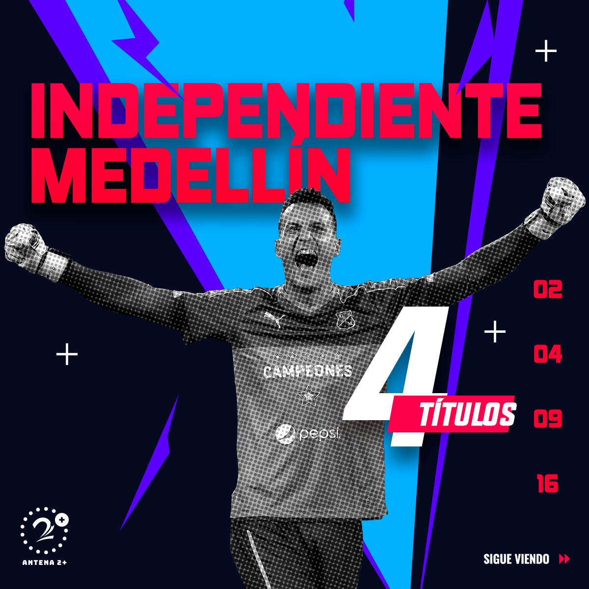 Medellín, campeón en cuatro ocasiones a nivel de torneos cortos.