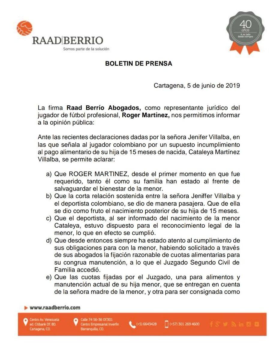Comunicado de Roger Martínez tras denuncia de su expareja