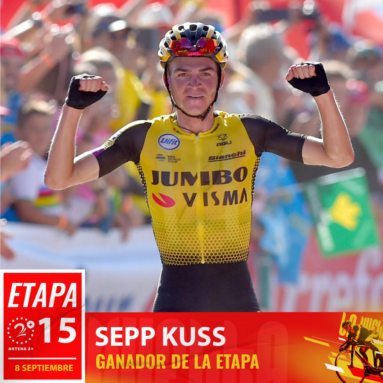 Sepp Kuss (Jumbo-Visma) ganó la etapa 15 de la Vuelta a España