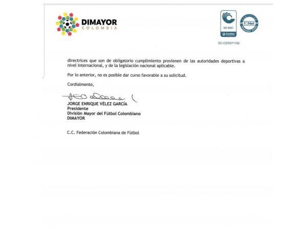 La respuesta de la Dimayor a Acolfutpro