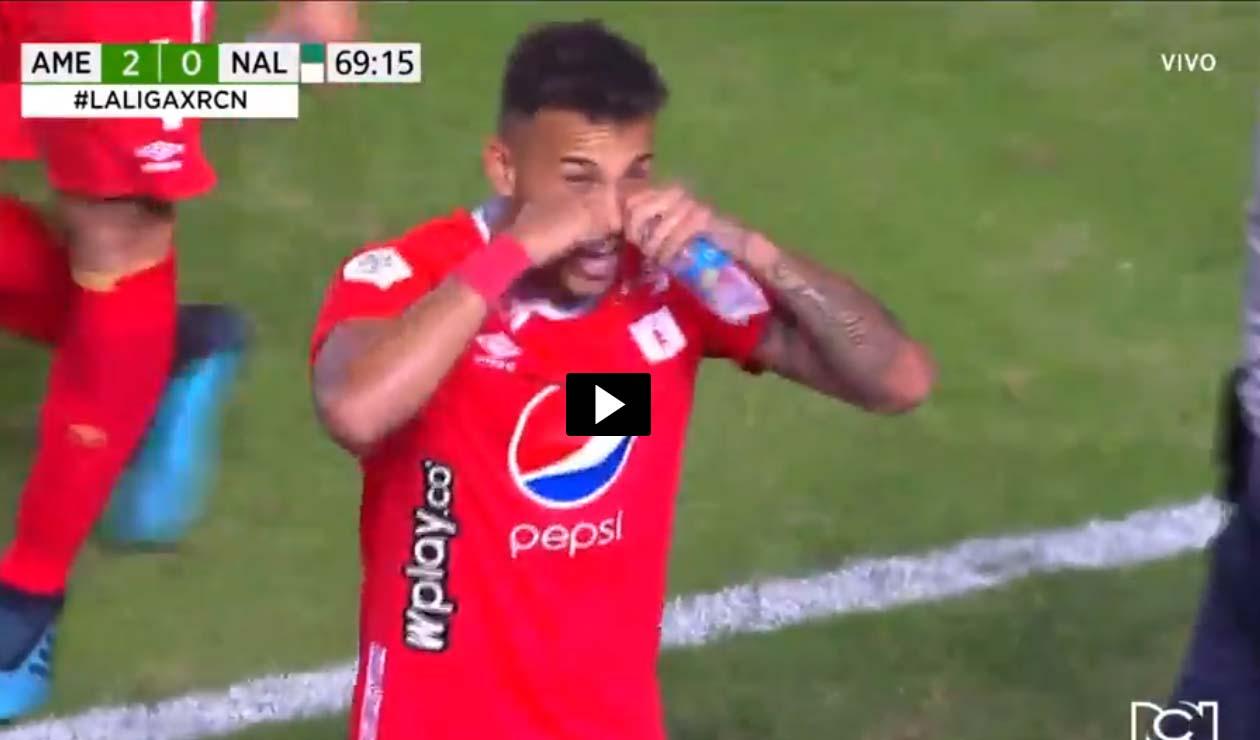 Duván Vergara, celebración del gol del América de Cali ante Nacional