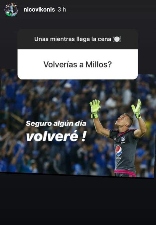 Nicolás Vikonis respondió en su Instagram si regresaría a Millonarios