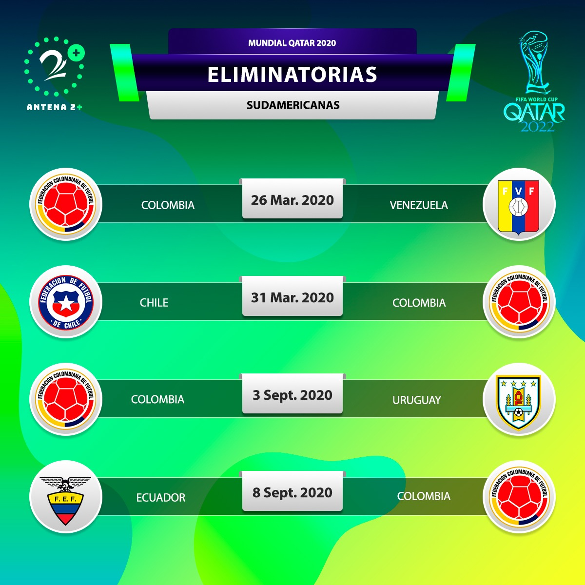 Selección Colombia, Eliminatorias Catar 2022, Calendario