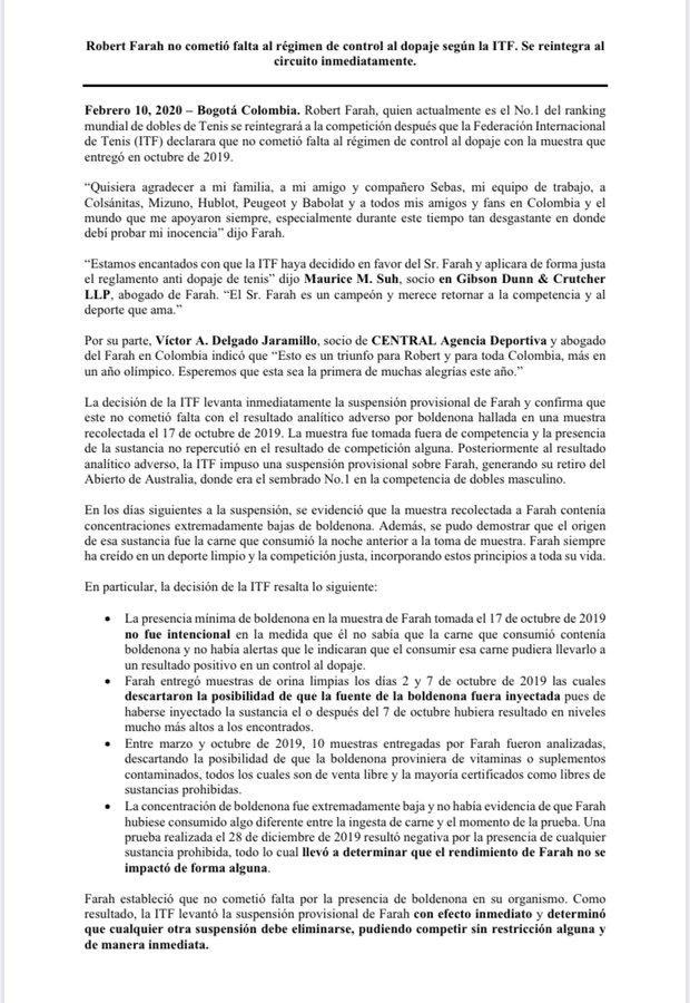 Comunicado ITF sobre Robert Farah