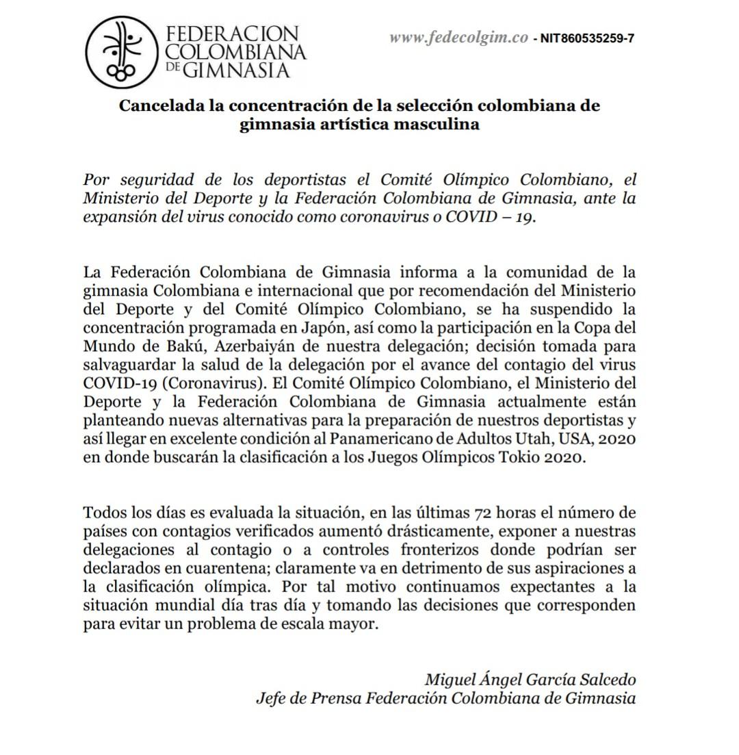 Comunicado Federación Colombiana de Gimnasia