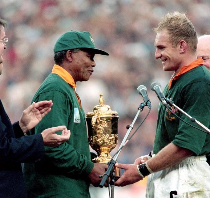 Francois Pienaar y Nelson Mandela