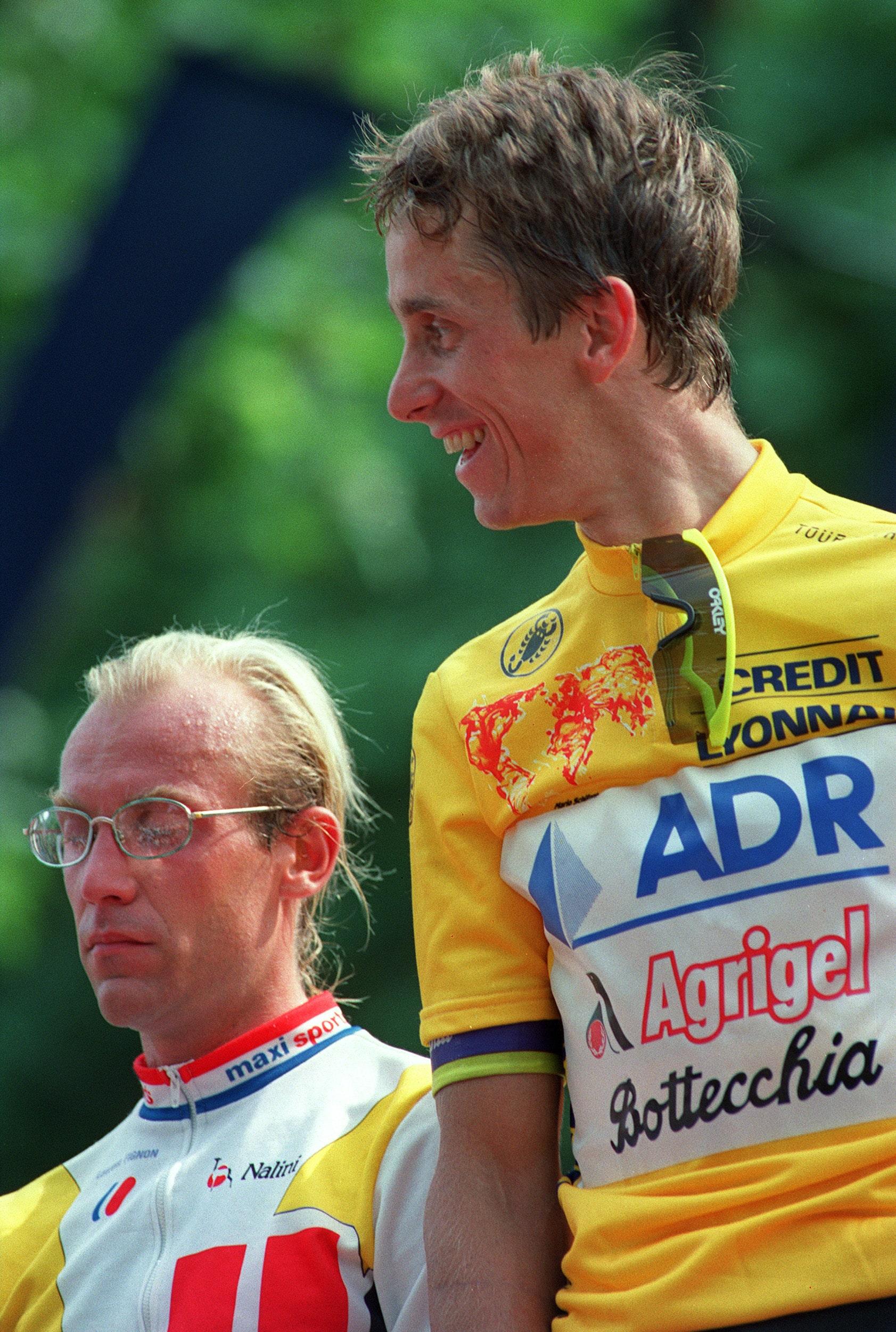 Fignon, junto a Greg Lemond, quien ganó el Tour de Francia de 1989