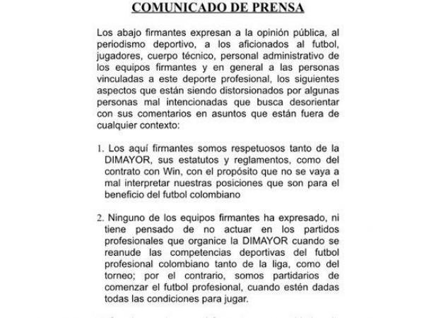Carta de Once Clubes a Dimayor