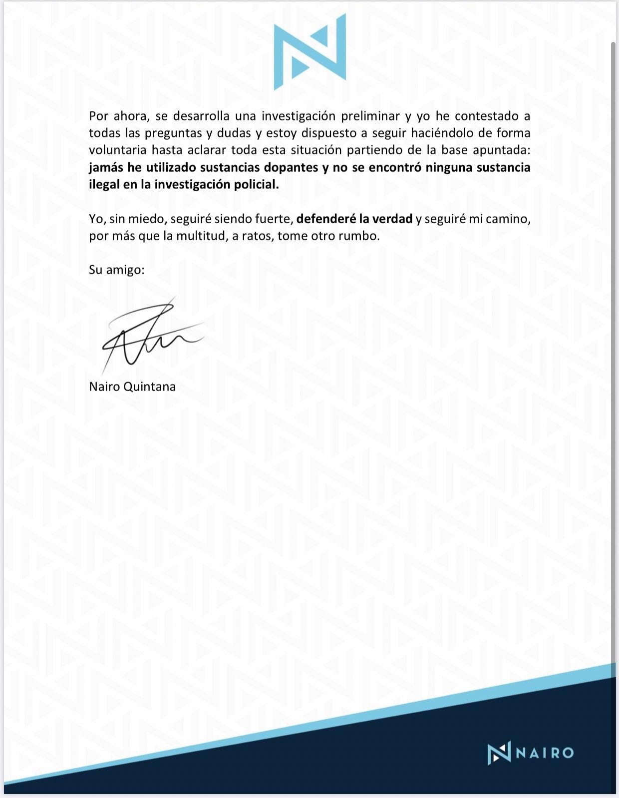 Comunicado Nairo Quintana