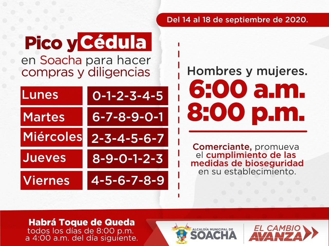 Pico y cédula en Soacha del 14 al 20 de septiembre