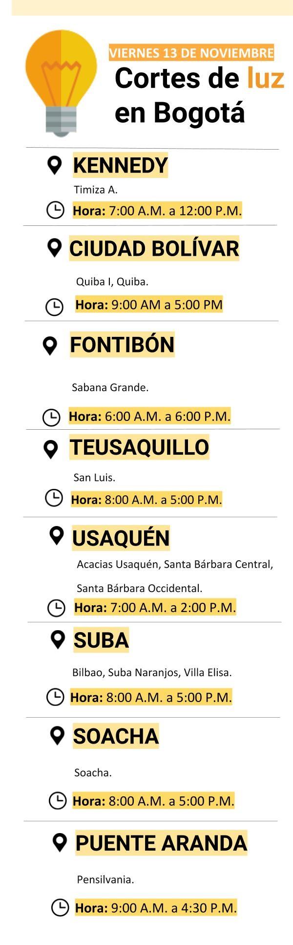Estos barrios de Bogotá se quedarán sin luz el viernes 13 de noviembre