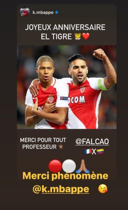 Mbappé felicita a Falcao en su cumpleaños 35