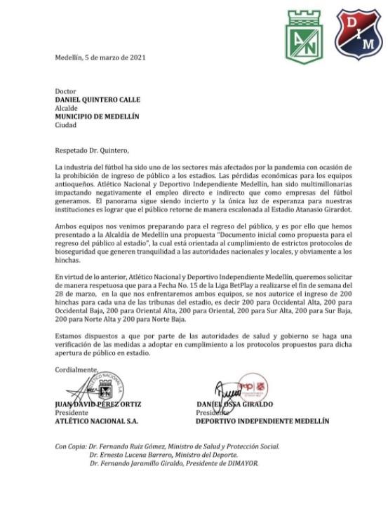 Comunicado Nacional y Medellín