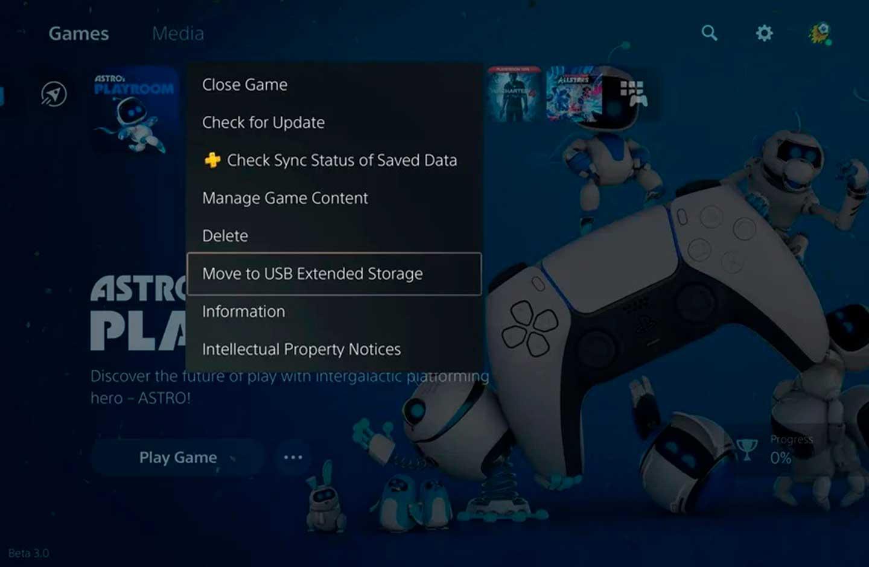 Menú de la consola PS5