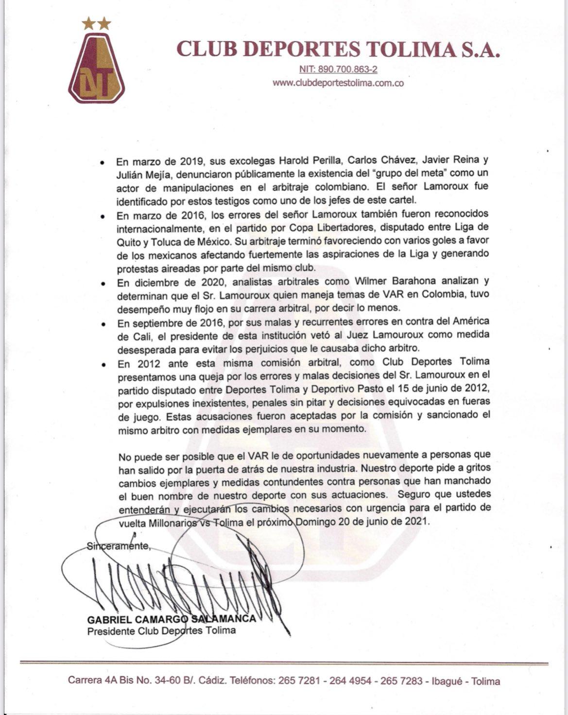 Carta Deportes Tolima