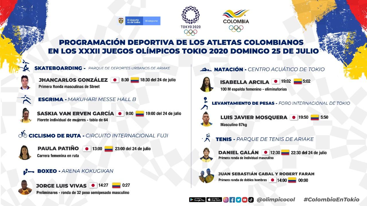 Programación de Colombia en los Juegos Olímpicos 24 y 25 de julio