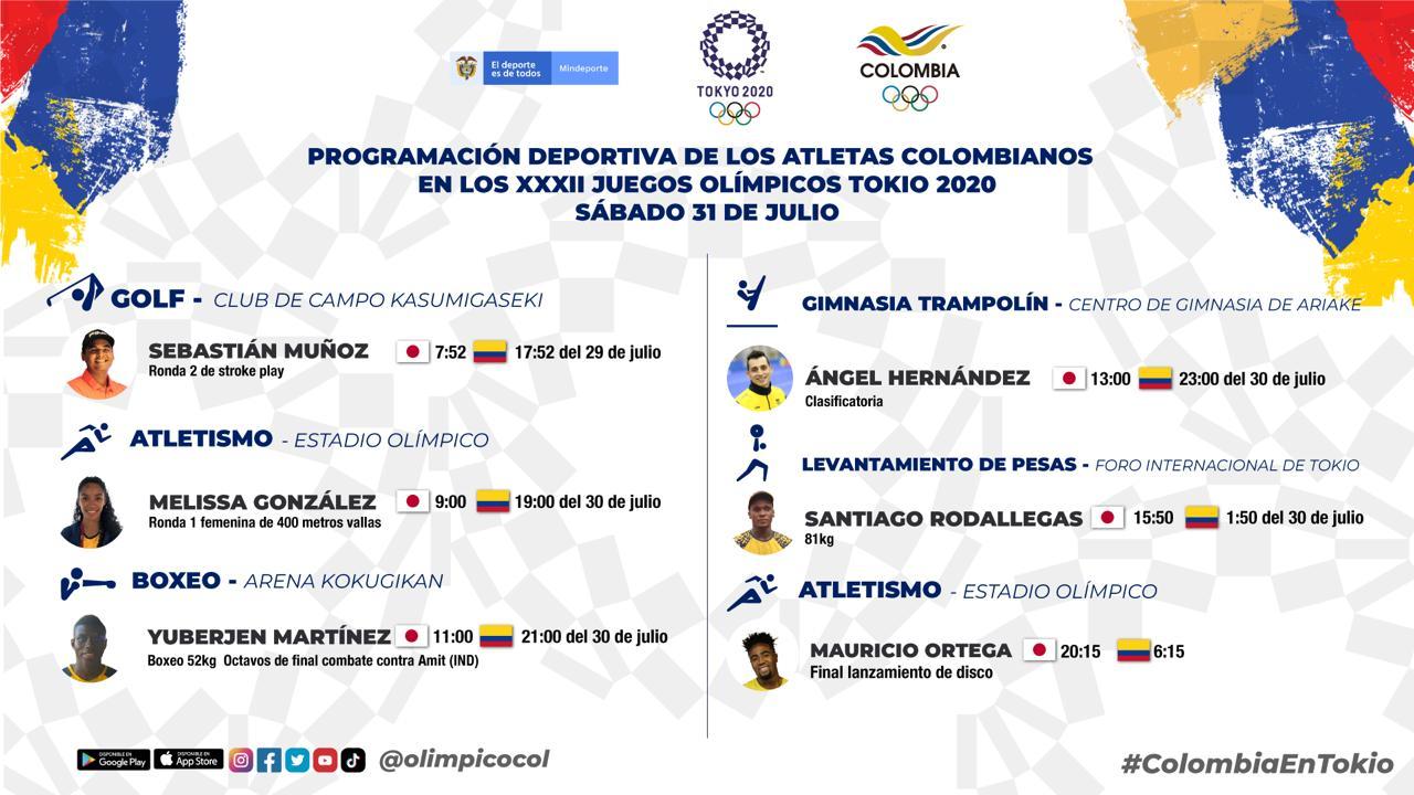 Juegos Olímpicos 2021, Programación colombianos 30 julio