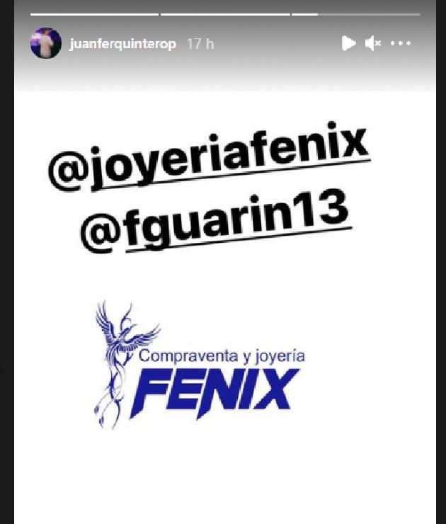 Historia de Instagram, Juan Fernando Quintero