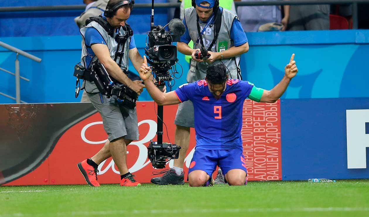 Falcao celebrando su primer gol en los mundiales