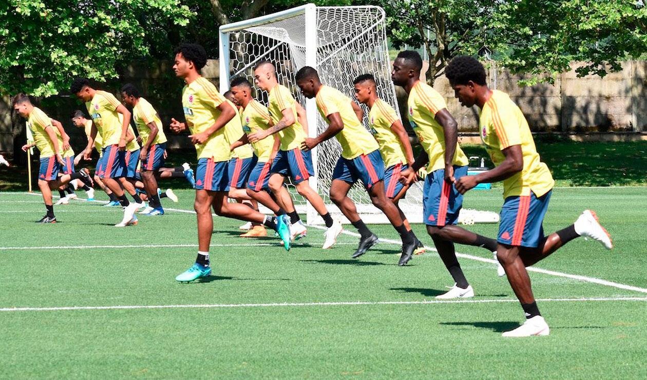 Los jugadores de la Selección Colombia en el entrenamiento del miércoles