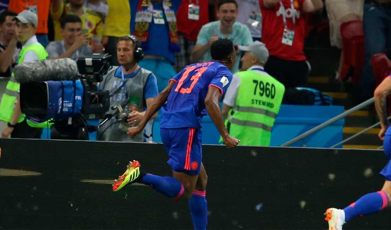Yerry Mina celebrando el gol de Colombia ante Polonia en el Mundial
