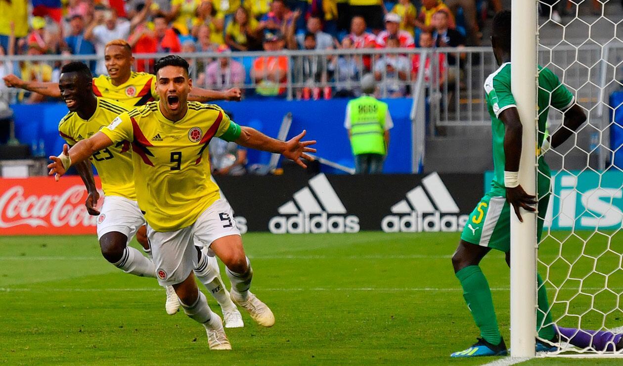 Falcao celebra el gol de Yerry Mina ante Senegal