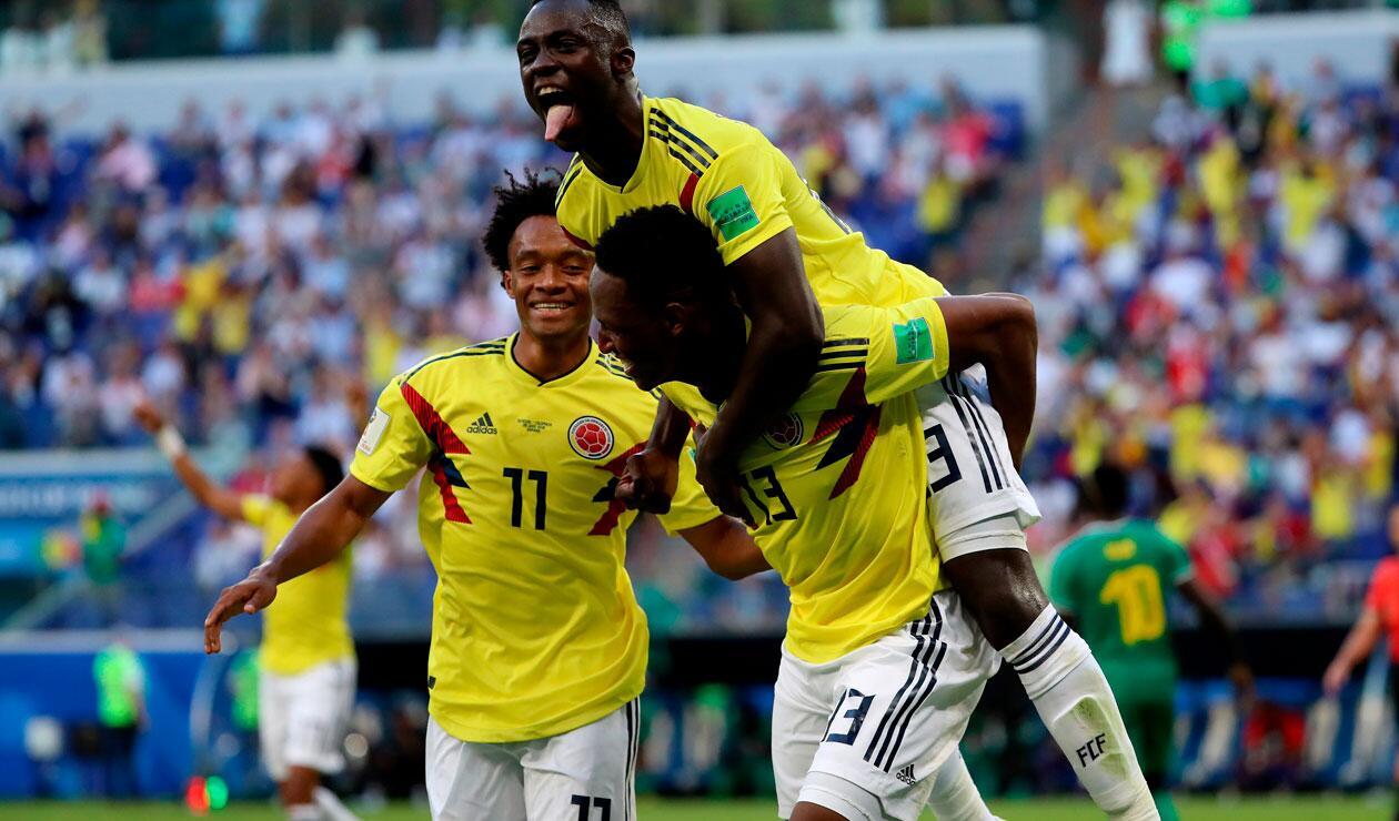 Yerry Mina celebra el gol de la victoria de Colombia ante Senegal