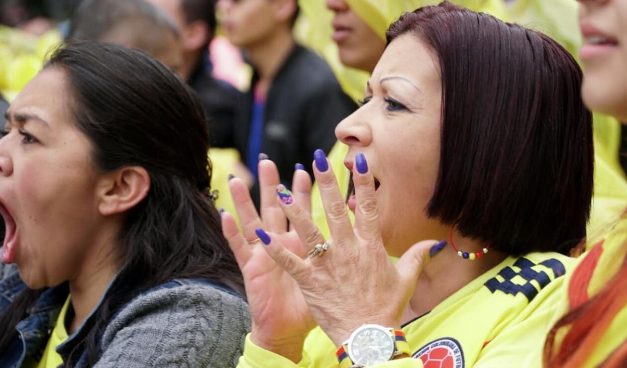 Hincha de la Selección Colombia durante el partido ante Japón en el parque Santander de Bogotá