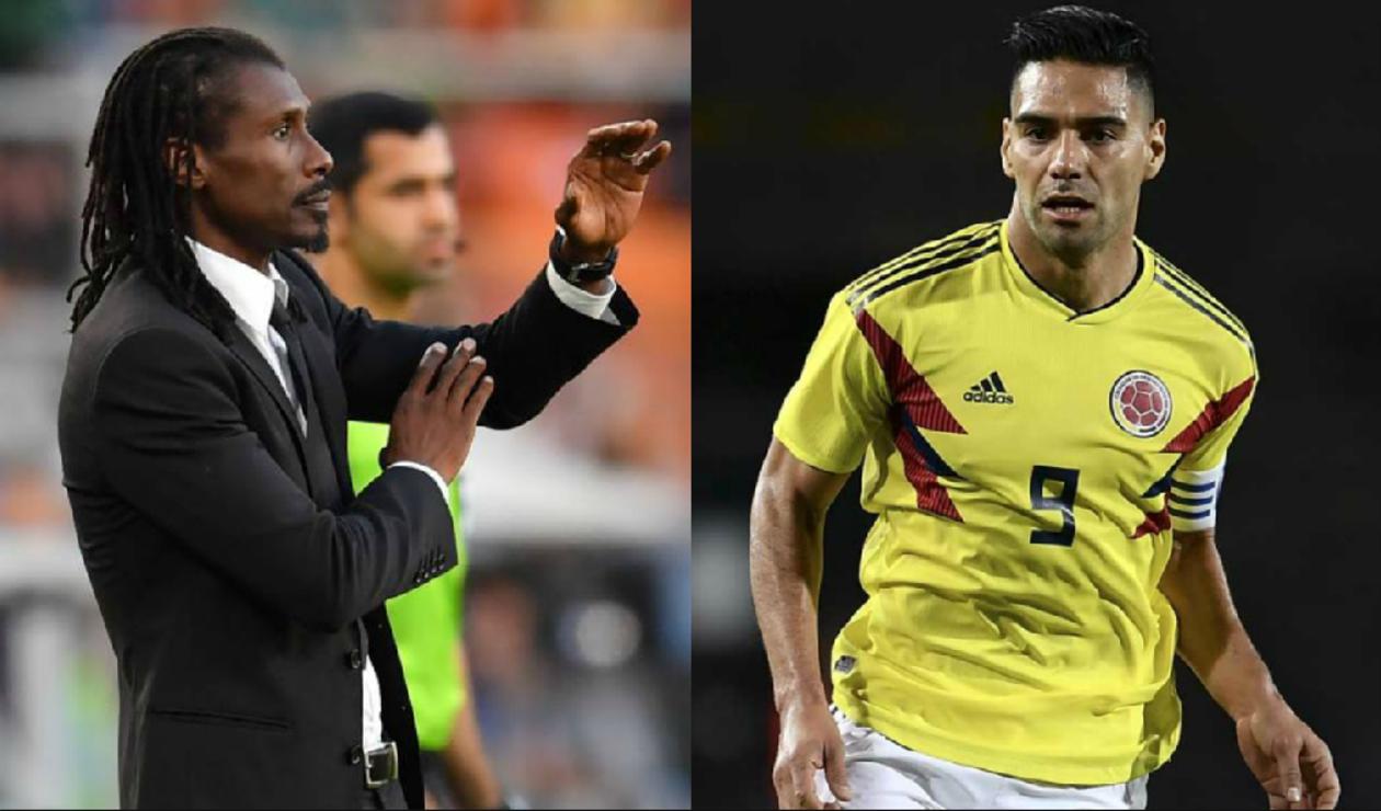 Aliou Cissé, DT de Senegal y Radamel Falcao García