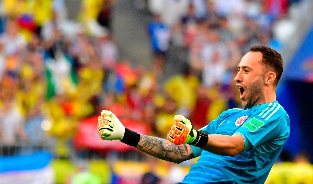 David Ospina celebra la clasificación de Colombia a octavos de final del Mundial de Rusia