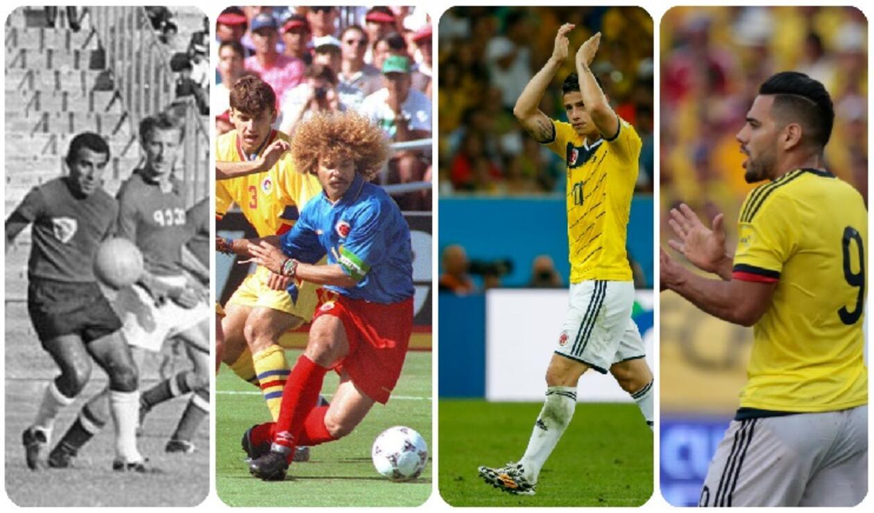 Marcos Coll, Carlos 'El Pibe' Valderrama, Radamel Falcao, Camilo Zúñiga y James Rodríguez, jugadores de la Selección Colombia