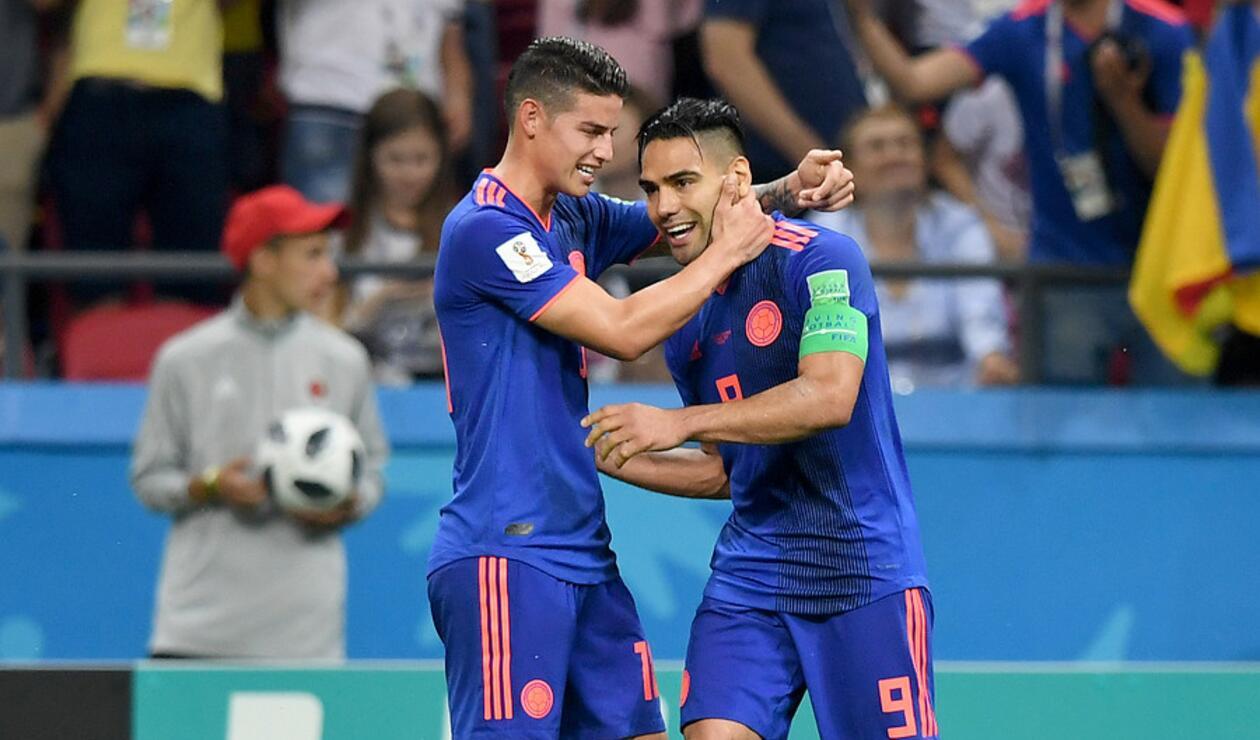 Falcao García y James Rodríguez celebrando en Rusia 2018