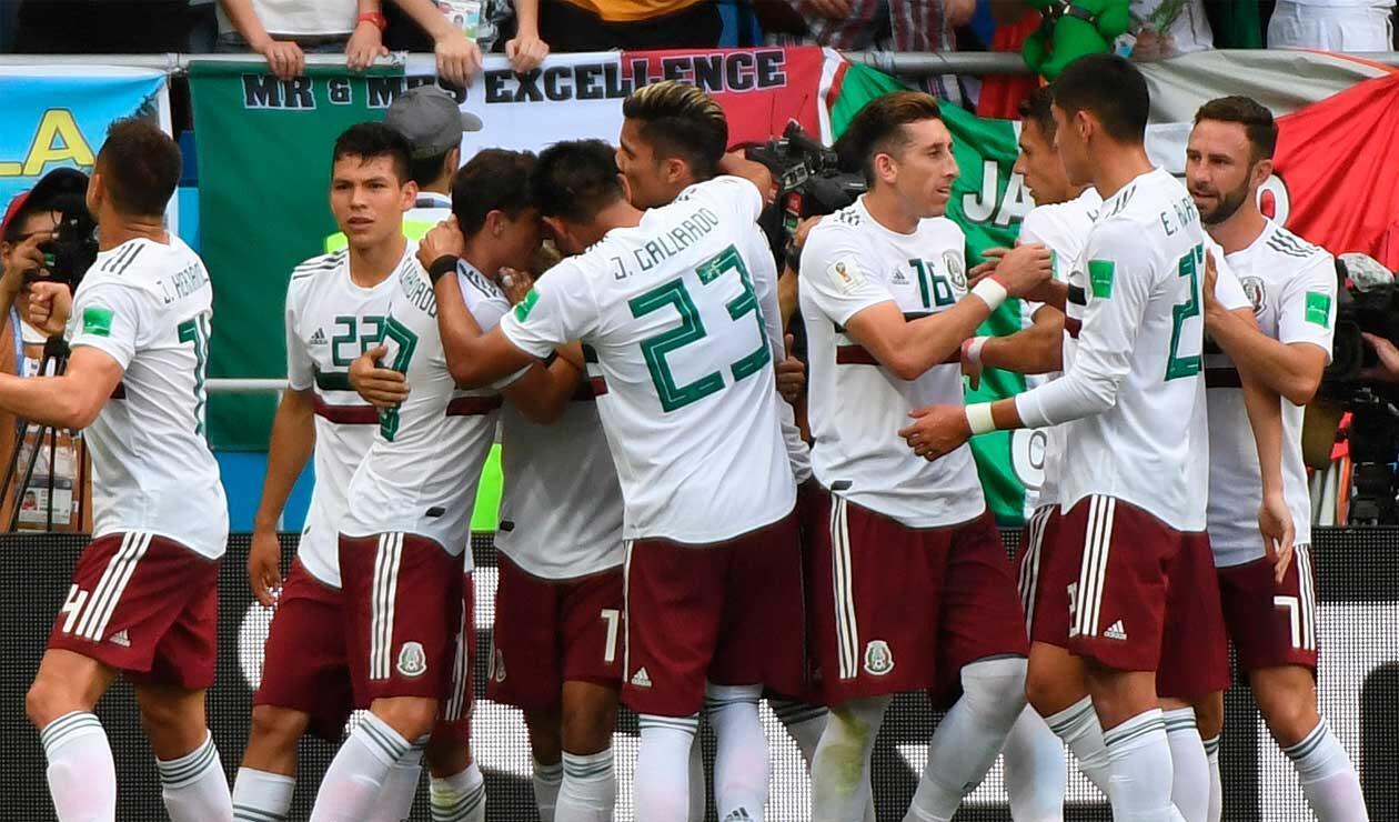 México celebra el gol de Carlos Vela frente a Corea del Sur