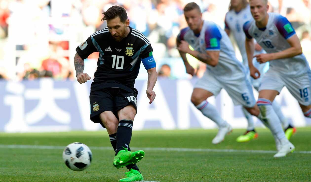 Messi y un penal errado cuando el partido Argentina-Islandia iba 1-1