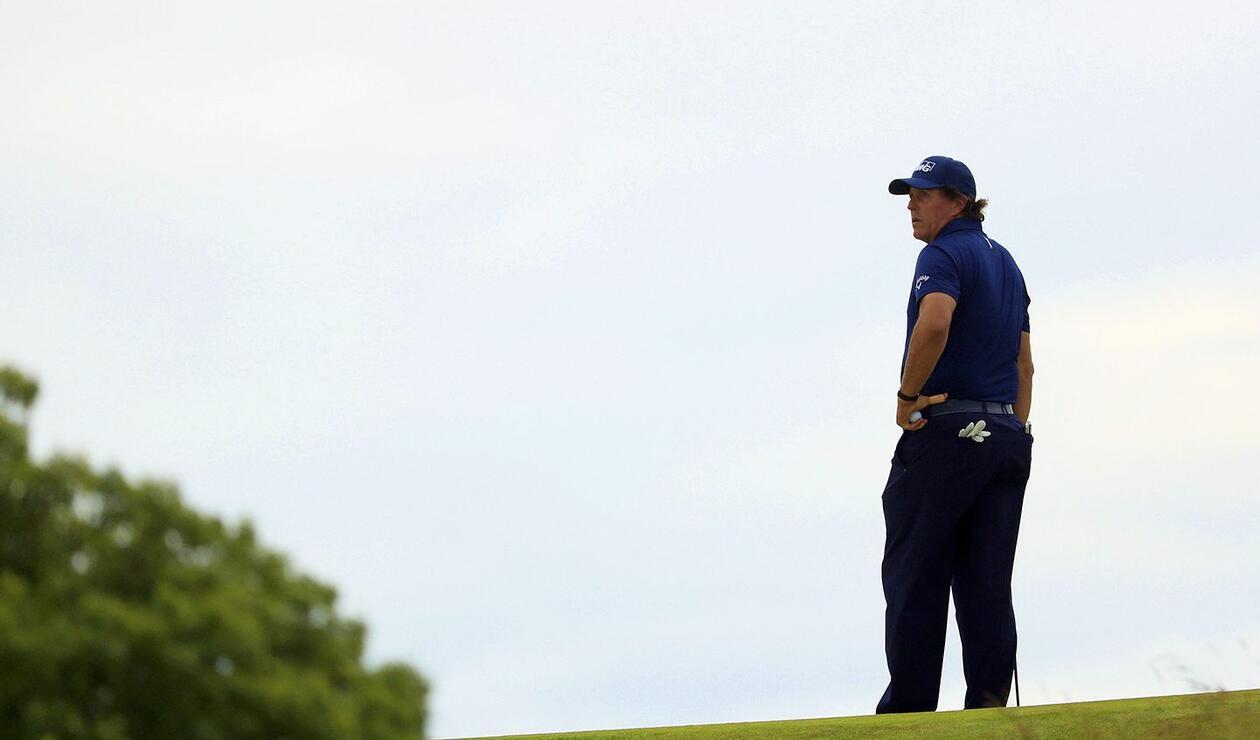 Phil Mickelson en el campo de Shinnecock Hills (NY) en el US Open 2018