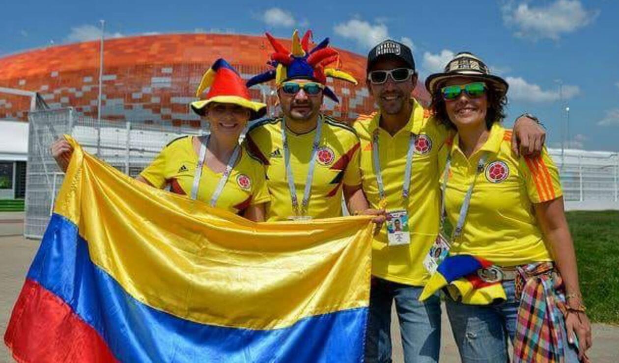 Cientos de aficionados llegaron a Saransk para acompañar a la Selección Colombia
