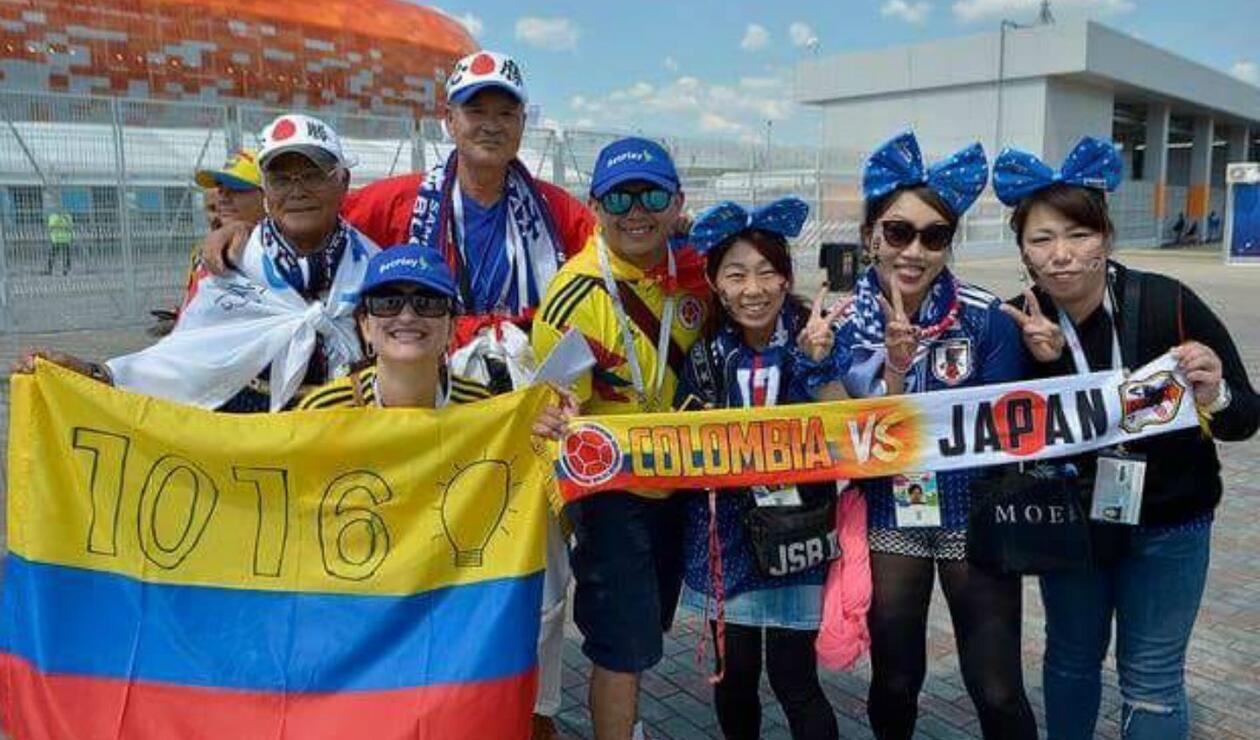 Aficionados de Colombia y Japón compartieron en Saransk